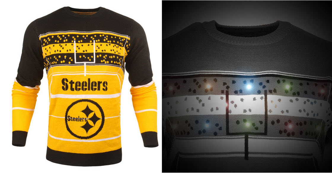 super popular 4ddc3 c36fc Steelers Light Up Christmas Sweater
